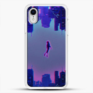 Miles Morales Jump Purple Neon iPhone XR Case, White Rubber Case | JoeYellow.com