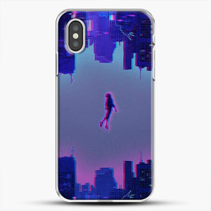 Miles Morales Jump Purple Neon iPhone XS Case, White Plastic Case | JoeYellow.com