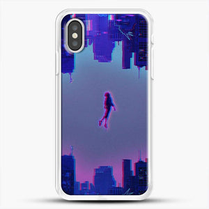 Miles Morales Jump Purple Neon iPhone XS Case, White Rubber Case | JoeYellow.com