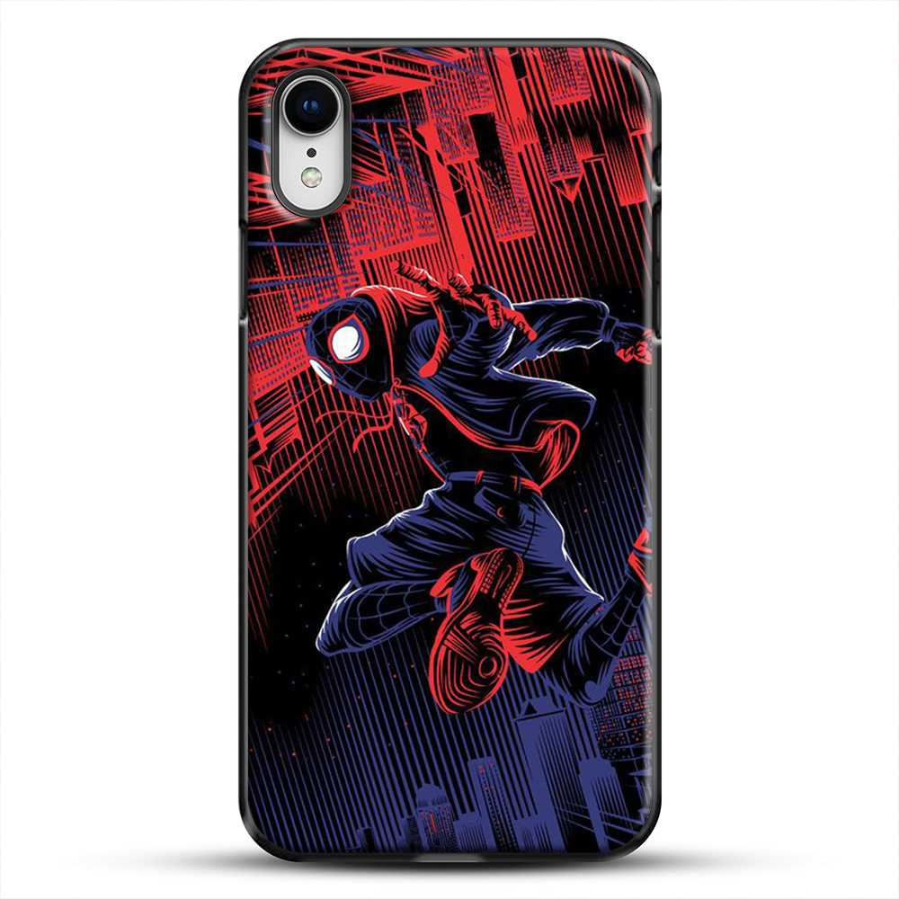 Miles Morales Jump Spider Verse iPhone XR Case, Black Plastic Case | JoeYellow.com