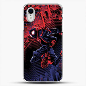 Miles Morales Jump Spider Verse iPhone XR Case, White Plastic Case | JoeYellow.com