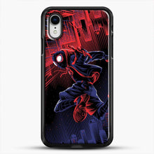 Load image into Gallery viewer, Miles Morales Jump Spider Verse iPhone XR Case, Black Rubber Case | JoeYellow.com