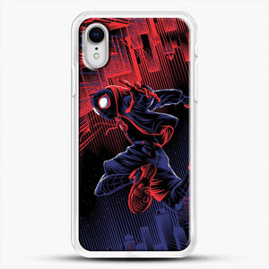 Miles Morales Jump Spider Verse iPhone XR Case, White Rubber Case | JoeYellow.com