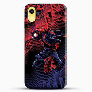 Miles Morales Jump Spider Verse iPhone XR Case, Black Snap 3D Case | JoeYellow.com