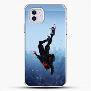 Miles Morales Jump iPhone 11 Case, White Plastic Case | JoeYellow.com