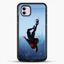 Load image into Gallery viewer, Miles Morales Jump iPhone 11 Case, Black Rubber Case | JoeYellow.com
