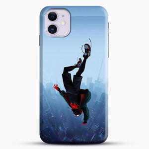 Miles Morales Jump iPhone 11 Case, Black Snap 3D Case | JoeYellow.com