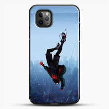Load image into Gallery viewer, Miles Morales Jump iPhone 11 Pro Max Case, Black Plastic Case | JoeYellow.com