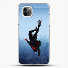 Load image into Gallery viewer, Miles Morales Jump iPhone 11 Pro Max Case, White Plastic Case | JoeYellow.com