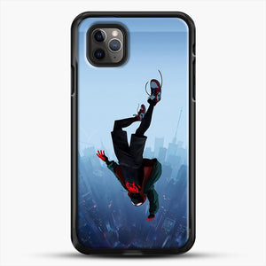 Miles Morales Jump iPhone 11 Pro Max Case, Black Rubber Case | JoeYellow.com