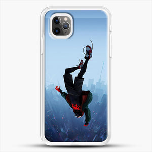 Miles Morales Jump iPhone 11 Pro Max Case, White Rubber Case | JoeYellow.com