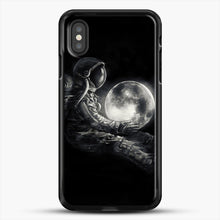 Load image into Gallery viewer, Moon Play iPhone XS Case, Black Rubber Case | JoeYellow.com