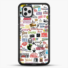 Load image into Gallery viewer, Musical Logos Cases Duvets Books Clothes Etc iPhone 11 Pro Case, Black Rubber Case | JoeYellow.com