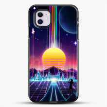 Load image into Gallery viewer, Neon Sunrise iPhone 11 Case, Black Plastic Case | JoeYellow.com