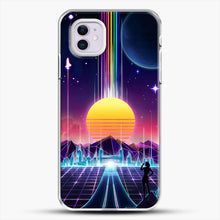 Load image into Gallery viewer, Neon Sunrise iPhone 11 Case, White Plastic Case | JoeYellow.com