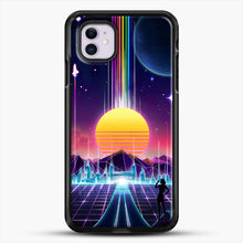 Load image into Gallery viewer, Neon Sunrise iPhone 11 Case, Black Rubber Case | JoeYellow.com