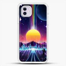 Load image into Gallery viewer, Neon Sunrise iPhone 11 Case, White Rubber Case | JoeYellow.com