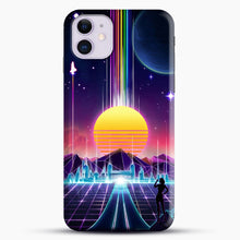 Load image into Gallery viewer, Neon Sunrise iPhone 11 Case, Black Snap 3D Case | JoeYellow.com