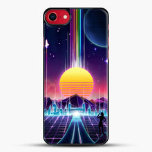 Load image into Gallery viewer, Neon Sunrise iPhone 8 Case, Black Plastic Case | JoeYellow.com