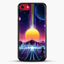 Load image into Gallery viewer, Neon Sunrise iPhone 8 Case, Black Rubber Case | JoeYellow.com