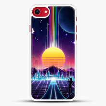 Load image into Gallery viewer, Neon Sunrise iPhone 8 Case, White Rubber Case | JoeYellow.com