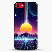 Load image into Gallery viewer, Neon Sunrise iPhone 8 Case, Black Snap 3D Case | JoeYellow.com