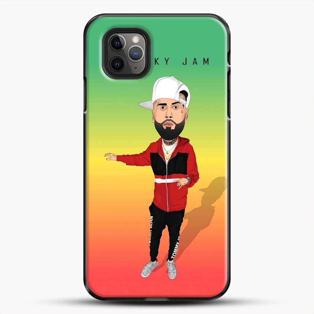 Nicky Jam Cartoon Style iPhone 11 Pro Max Case, Black Plastic Case | JoeYellow.com