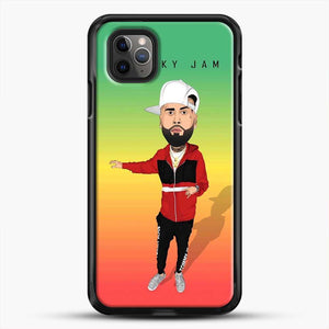 Nicky Jam Cartoon Style iPhone 11 Pro Max Case, Black Rubber Case | JoeYellow.com