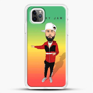 Nicky Jam Cartoon Style iPhone 11 Pro Max Case, White Rubber Case | JoeYellow.com