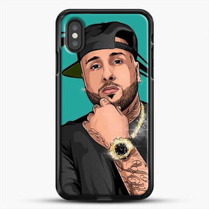 Nicky Jam Mundial iPhone XS Case, Black Rubber Case | JoeYellow.com