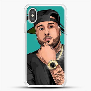 Nicky Jam Mundial iPhone XS Case, White Rubber Case | JoeYellow.com