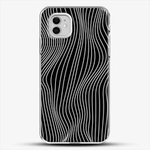 Load image into Gallery viewer, Optical Illusion Minimal Lines iPhone 11 Case, White Plastic Case | JoeYellow.com