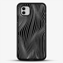 Load image into Gallery viewer, Optical Illusion Minimal Lines iPhone 11 Case, Black Rubber Case | JoeYellow.com