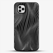 Load image into Gallery viewer, Optical Illusion Minimal Lines iPhone 11 Pro Case, Black Plastic Case | JoeYellow.com