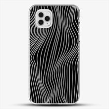 Load image into Gallery viewer, Optical Illusion Minimal Lines iPhone 11 Pro Case, White Plastic Case | JoeYellow.com