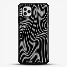 Load image into Gallery viewer, Optical Illusion Minimal Lines iPhone 11 Pro Case, Black Rubber Case | JoeYellow.com