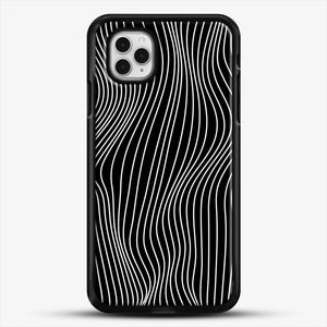 Optical Illusion Minimal Lines iPhone 11 Pro Case, Black Rubber Case | JoeYellow.com