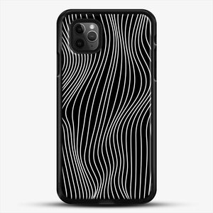 Optical Illusion Minimal Lines iPhone 11 Pro Max Case, Black Rubber Case | JoeYellow.com