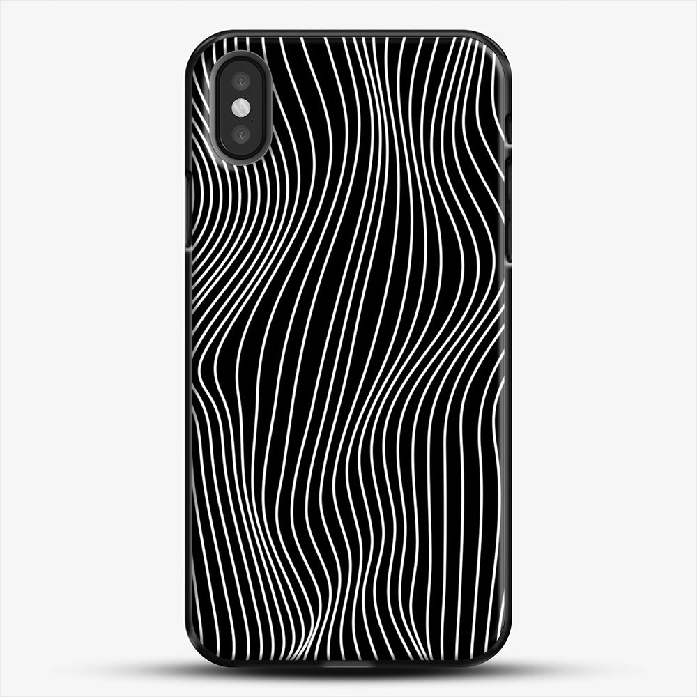 Optical Illusion Minimal Lines iPhone X Case, Black Plastic Case | JoeYellow.com