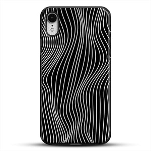 Optical Illusion Minimal Lines iPhone XR Case, Black Plastic Case | JoeYellow.com