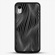 Load image into Gallery viewer, Optical Illusion Minimal Lines iPhone XR Case, Black Rubber Case | JoeYellow.com