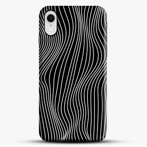 Optical Illusion Minimal Lines iPhone XR Case, Black Snap 3D Case | JoeYellow.com
