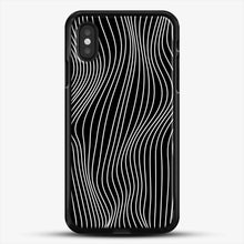 Load image into Gallery viewer, Optical Illusion Minimal Lines iPhone XS Case, Black Rubber Case | JoeYellow.com