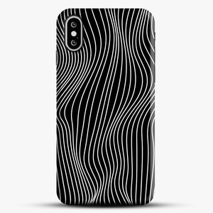 Optical Illusion Minimal Lines iPhone XS Case, Black Snap 3D Case | JoeYellow.com