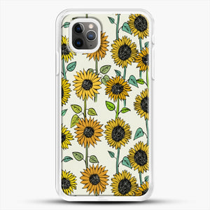 Painted Sunflowers iPhone 11 Pro Max Case, White Rubber Case | JoeYellow.com