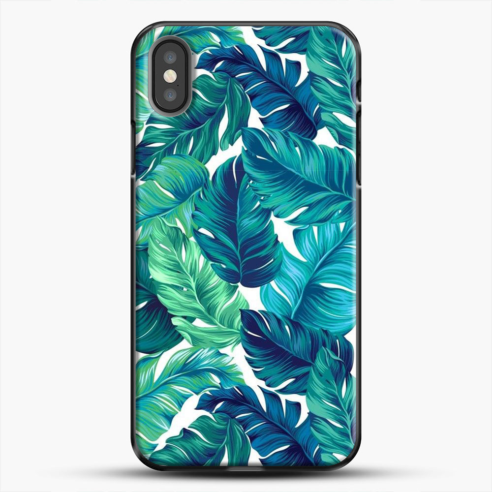 Palm Leaves Tropical iPhone Case, Black Plastic Case | JoeYellow.com