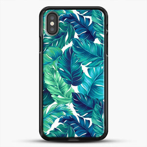 Palm Leaves Tropical iPhone Case, Black Rubber Case | JoeYellow.com
