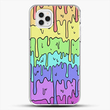 Load image into Gallery viewer, Pastel Kawaii Melting Rainbow iPhone 11 Pro Case, White Plastic Case | JoeYellow.com