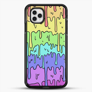 Pastel Kawaii Melting Rainbow iPhone 11 Pro Case, Black Rubber Case | JoeYellow.com