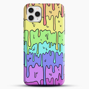 Pastel Kawaii Melting Rainbow iPhone 11 Pro Case, Black Snap 3D Case | JoeYellow.com